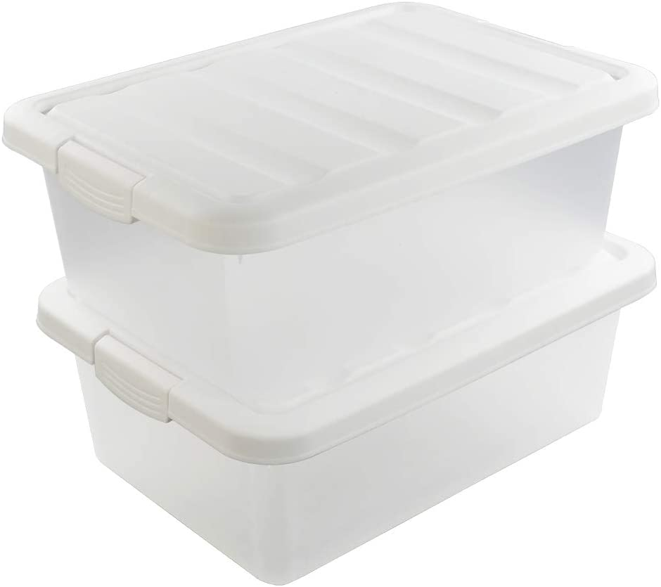 Ucake Clear Plastic Storage Bin with Lid 2 Packs