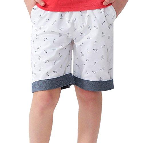 Leo&Lily Boys Husky Elastic Waist Chambray Cuff Print Chino Shorts (White, 8)