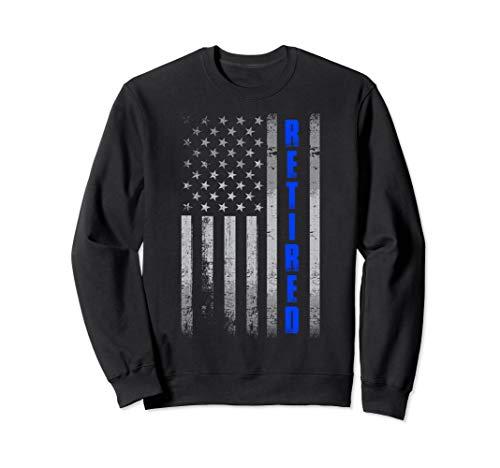 Police Adult Sweatshirt - Thin Blue Line USA Flag Proud Retired Police 4th July Gift Sweatshirt
