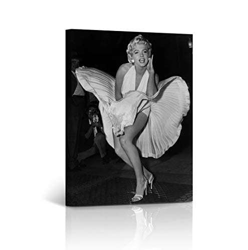 Famous Marilyn Dress Monroe White - Buy4Wall Marilyn Monroe Wall Art Canvas Print Famous Picture in White Dress Seven Year Itch, Flying Skirt Decorative Modern Home Decor Artwork - Ready to Hang -%100 Handmade in The USA