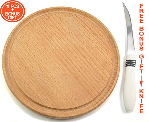 Round board, wooden board, cutting & chopping board, serving & sushi tray, food platter, pizza & burger board, breakfast & charger plate, meal dish for home, restaurant, bar, hotel, Ø 9 inch, 504170