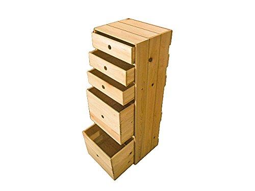 ヒノキのカラーボックス(引き出し5個付き)木製 国産 手作り 家具 B0723GSN44