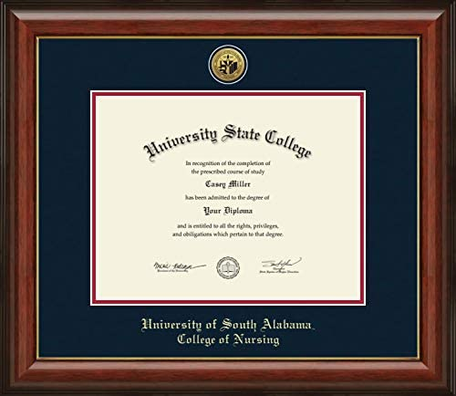 Amazon Com University Of South Alabama College Of Nursing Officially Licensed Gold Printed Medallion Diploma Frame Diploma Size 11 X 8 5