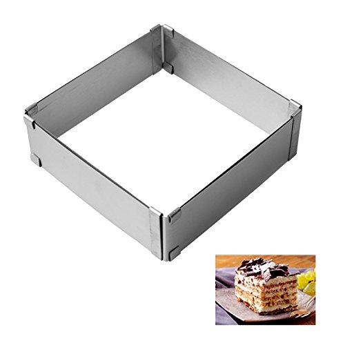 Emousport 2pcs/set Stainless Steel Adjustable Cake Mousse Ring 3D Round & Square Cake Mold Cake Decorating Baking Tools by Emousport