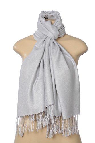 ABC Women's Elegant Pashmina Silk Blend Soft Wrap Scarf Shawl, Silver, 26