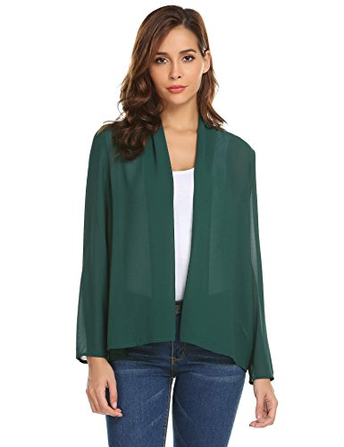 Concep Women's Casual Chiffon Cover up Flowy Sleeve Solid Sheer Kimono Cardigan Dark Green - Wedding Informal Chiffon Dress
