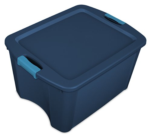 Sterilite 14467406 18 Gallon/68 Liter Latch and Carry, True Blue Lid and Base with Blue Aquarium Latches, 6-Pack (Plastic Containers Tote)