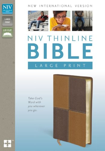 NIV, Thinline Bible, Large Print, Imitation Leather, Tan/Brown, Red Letter Edition