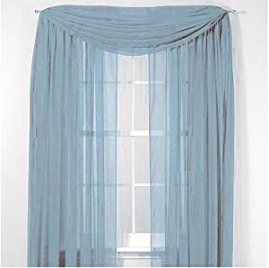 Elegance Voile Blue Sheer Curtain 40 X216 Scarf Home Kitchen