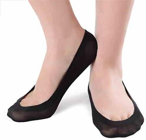 K.Bell 2-Pair Pack Black Floral Lace Edges Foot Liners Ladies Sock Footie New