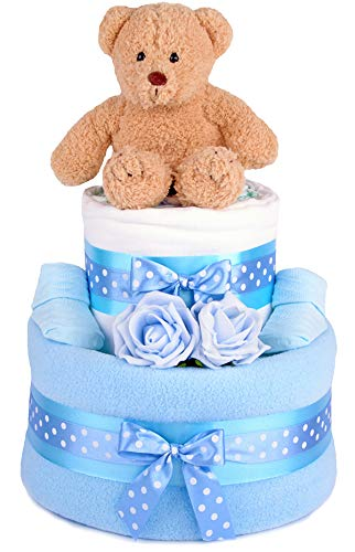 PureNappyCakes Luxury Deep Filled New Baby Shower Nappy Cake Unisex, Single Tier