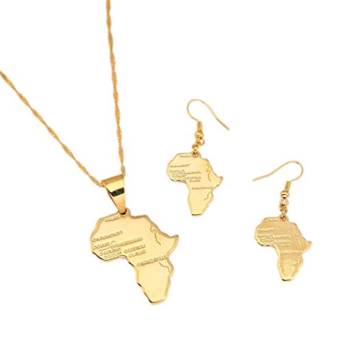 Animal Print Necklace Set - Big Size Crystal Africa Map Pendant Necklace Women Girl 24K Gold Plated African Map Hiphop Item (Pendant Earrings Set)