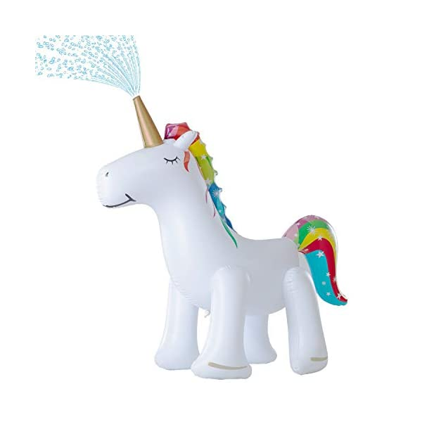 Leader Accessories Unicorn/ Elephant/ Crocodile Sprinkler Inflatable Water Toys (Unicorn Sprinkler 5.8ft) 3