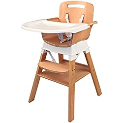 Spuddies 4 in 1 Deluxe Wooden High Chair, Light Brown