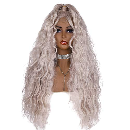 - Wiginway Loose Wave Wig Glueless Platinum Blonde Lace Front Wig Heat Resistant Sliver Hair With Ponytail for Women Freestyle Wig