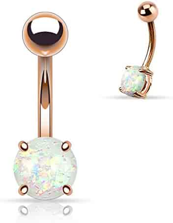 Fifth Cue 14G Opal Glitter Prong Set Rose Gold IP Over 316L Surgical Steel Belly Button Ring (Synthetic Opal) - Choose Color