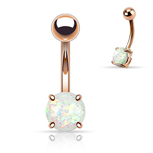 14G Opal Glitter Prong Set Rose Gold IP Over 316L Surgical Steel Belly Button Ring - White (Glitter Navel Belly Ring)
