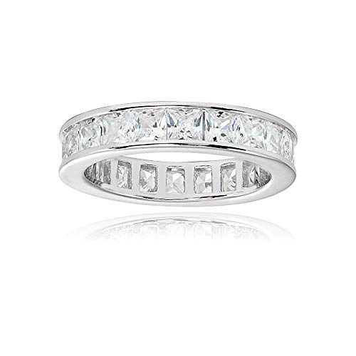 Sterling Silver Cubic Zirconia Princess-Cut 3mm Channel Set Polished Eternity Band Ring, Size 6 ()