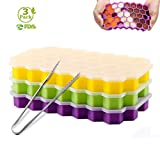 3 Pack Ice Cube Trays, Silicone Honeycomb Shape Ice Cube Molds wih Lids Make 111 Ice Cube for Whiskey, Cocktail, Stackable Flexible, BPA Free (Purple+Yellow+Green) (Purple+Yellow+Green)
