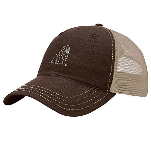 Speedy Pros Walrus Outline Embroidery Design Richardson Cotton Front and Mesh Back Cap Brown/Khaki