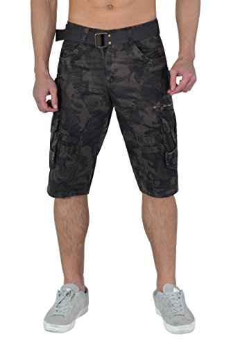 TWO BLOCKS OFF Shorts Casual Pants Men Multi&Large Pockets Waist Belt/Stainless Steel Button& Snap Uniforms Working Desert Storm Camo(A) Size 36