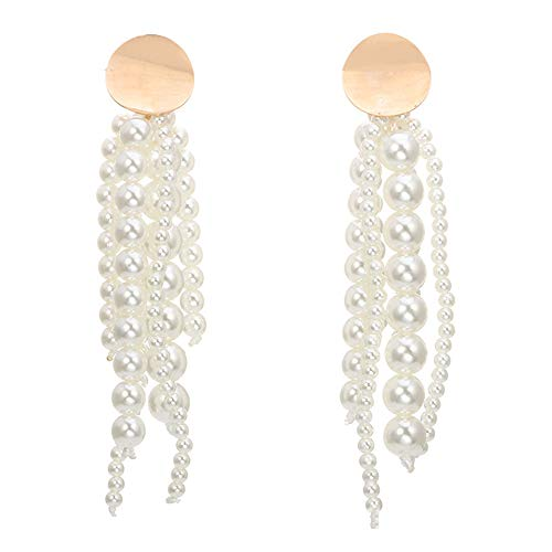 (Stylebar Bridal Simulated Pearl Tassel Earring Long Dangling Women Statement Dangle Drop Earrings for Wedding Brides Girls )