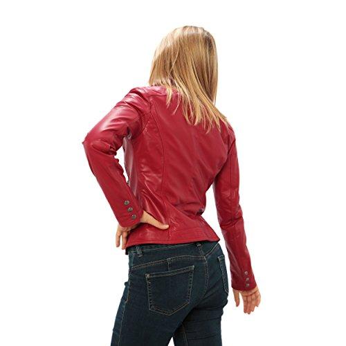 """Mujer Chaqueta de cuero auténtico """"estilo ciclistas"""" Made in Italy Rojo"""
