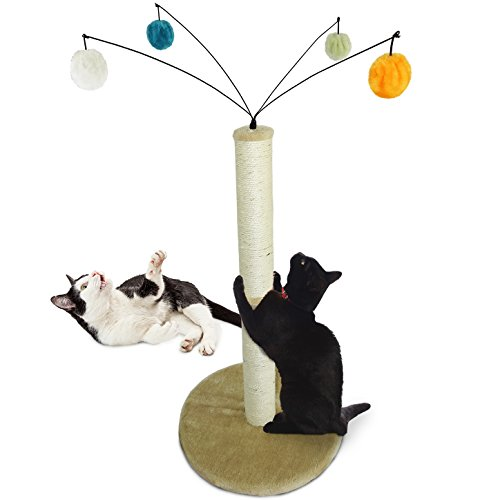 FurHaven Pet Cat Furniture | Tiger Tough Fuzzball Cat Scratcher Post, Cream from Furhaven Pet
