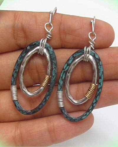 Earrings For Women Double Oval Hoop Wire Wrap Patina Silver Gold Plated Pierced Wire Ears