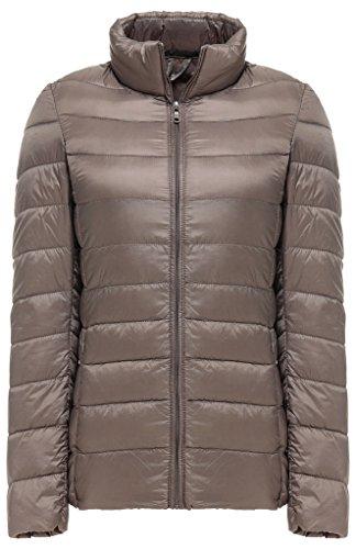 Pillow Collar Down Jacket (Sawadikaa Women's Ultra Light Packable Stand Collar Winter Pillow Down Puffer Jacket Coat Khaki Small)