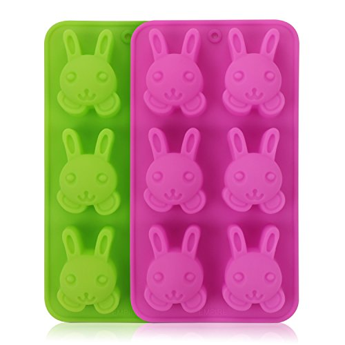 Beasea 2pcs Reusable Silicone Molds Rabbit Shaped Chocolate Candy Mold Cartoon Bunny Shaped Cake Decoration Moulds, Random Colors