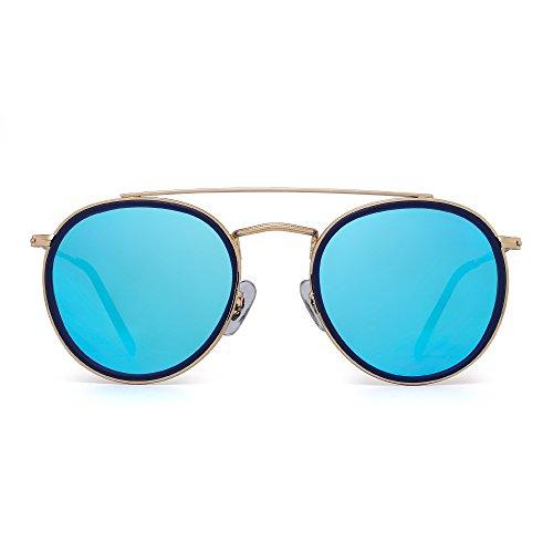 Espejo Dorado Punta Polarizadas Aleación de Azul de Anteojos Metal Lente Polarizado Marco Azul Hombre Plano Mujer Gafas Sol Circulo Redondas UBw1Zq