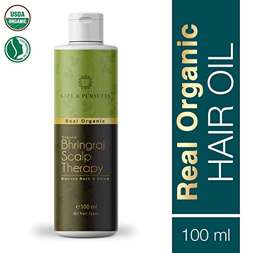 Life & Pursuits USDA Organic Hair Growth Oil With Bhringraj, Amla, Coconut Oil & Castor Oil For Ayurvedic dry Scalp Therapy (100 ml/3.38 fl oz) ()