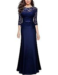 Anxihanee Women's Vintage Floral Lace Peplum Evening Wedding Party Long Maxi Dress
