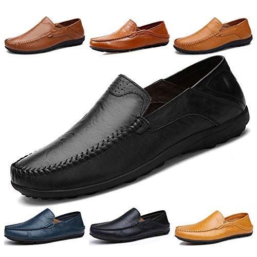 Lapens Men's Driving Shoes Premium Genuine Leather Fashion Slipper Casual Slip On Fashion Sneakers Breathable Mules Sandals Loafers Shoes LPMLFS1587-Bl43 Black