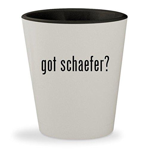 Schaefer Yarn Susan - got schaefer? - White Outer & Black Inner Ceramic 1.5oz Shot Glass