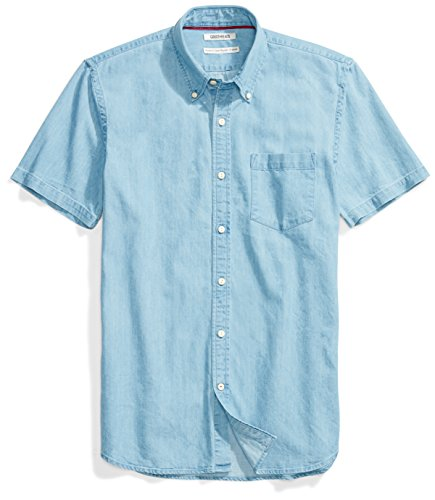 Goodthreads Men's Standard-Fit Short-Sleeve Denim Shirt, Light Blue, Medium Button Up Shirt Jeans