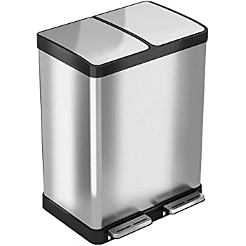 ITouchless SoftStep 16 Gallon Step Trash Can / Recycle Bin U2013 61 Liter  Stainless Steel Kitchen