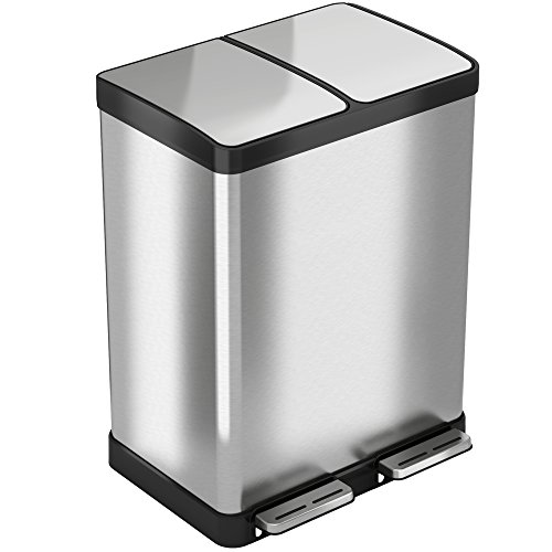 iTouchless SoftStep 16 Gallon Step Trash Can/Recycle Bin – 61 Liter Stainless Steel Kitchen Trash Can – 2 8-Gallon Removable Inner Buckets – Perfect for Kitchen, Office, Home (Recycle Stainless Steel)