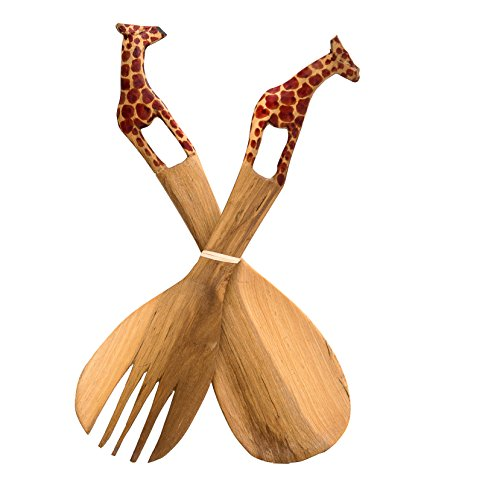 Handmade Large Teak Wood Salad Server Set – 2 Piece Wooden Fair Trade Giraffe Salad Servers in an Eco-friendly Gift Bag - Uniquely Designed & Skilfully Crafted in Kenya by African Inspired Design (Java Giraffe)