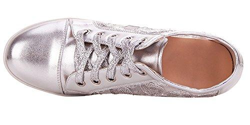 Traspiranti Donna Da Vecjunia Per Lacci Ginnastica Silver1 Scarpe Con 3 5 Casual Piatte 8t1xS
