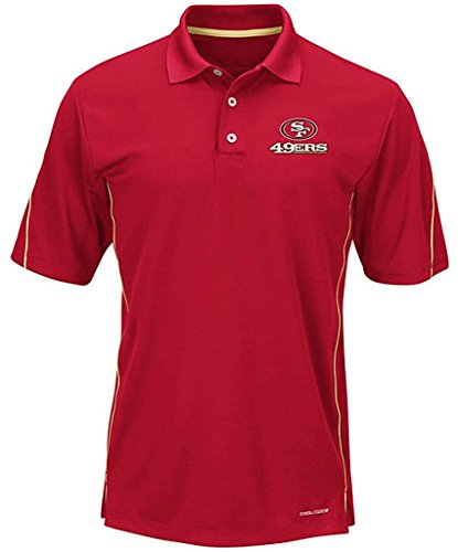 Majestic Athletic San Francisco 49ers Moist Management Mens Red Field Polo Shirt Big & Tall Sizes (5XL) by Majestic