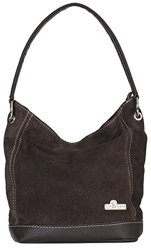 Purse Handbag Coffee Hobo DENISE LIATALIA Made Handle Medium Suede Hand Italian Single Leather Real qPzgvwOcq