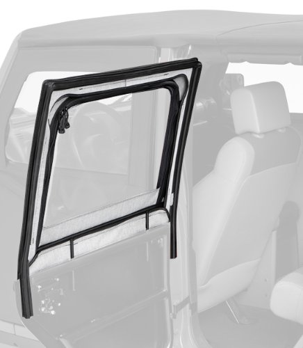 Jeep Wrangler Full Door Weatherstripping - Bestop 51806-35 Black Diamond HighRock 4X4 Element Door Upper Fabric Door Set for 2007-2018 JK Wrangler - Rear