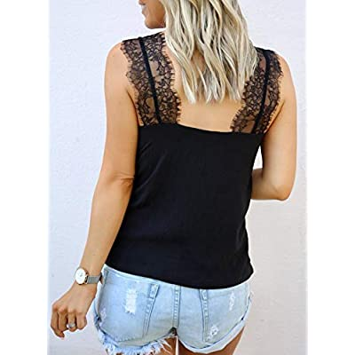BLENCOT Women's V Neck Lace Strappy Cami Tank Tops Casual Loose Sleeveless Blouse Shirts at Women's Clothing store
