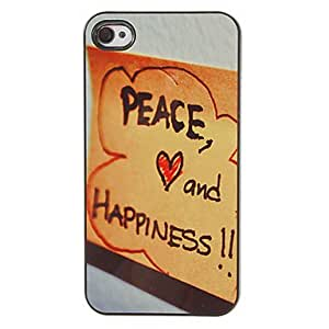 JJEScrawl of Peace and Happiness Pattern PC Hard Case with 3 Packed HD Screen Protectors for iPhone 4/4S