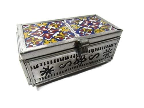 El Relicario de Los Tesoros TIN & Talavera Trinket Box Mexican Folk Art Hand Crafted (4.5