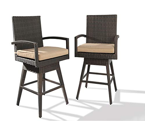 Ulax furniture 2Pack Outdoor Patio Furniture All-Weather Brown Wicker Swivel Bar Stool with Cushion (High Rattan Bar Stools Back)