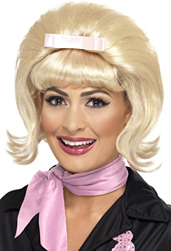 Beehive Wig Blonde (Smiffy's Women's 50's Flicked Blonde Beehive Bob with Ribbon Bow, One Size, 5020570432297)