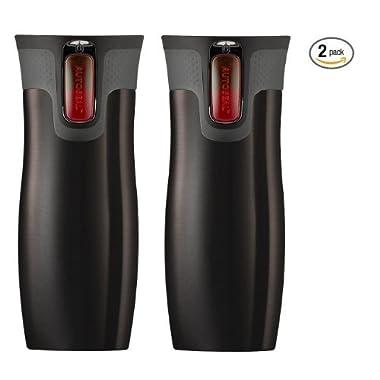 Contigo Autoseal Travel Mug - Stainless Steel Vacuum Insulated Tumbler - 2 Pack (Black)